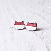 Load image into Gallery viewer, Cat Stud Earrings Red White