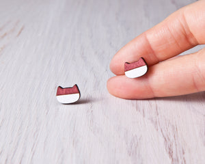 Cat Stud Earrings Red White
