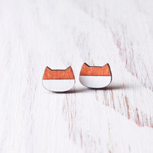 Load image into Gallery viewer, Cat Stud Earrings Orange White