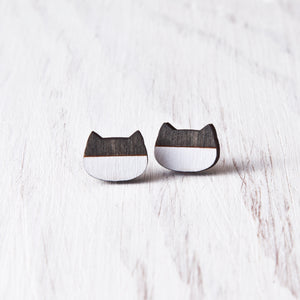 Cat Stud Earrings Black White