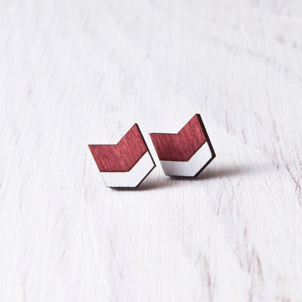 Wooden Arrow Earrings, Dark Red Chevron Studs, Valentines Day Gift for Her