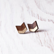 Load image into Gallery viewer, Brown Gold Chevron Earrings, Boho Arrow Studs
