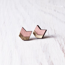 Load image into Gallery viewer, Dusty Pink Gold Wooden Arrow Stud Earrings, Bohemian Jewelry
