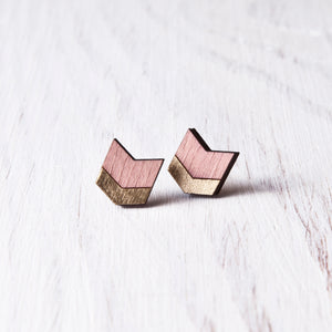 Dusty Pink Gold Wooden Arrow Stud Earrings, Bohemian Jewelry