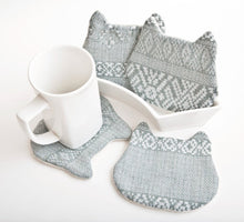 Load image into Gallery viewer, Blue Cat Coasters Set, Tribal Absorbent Tea Mats Set of 4, Housewarming Gifts