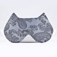 Load image into Gallery viewer, Gray Paisley Cat Sleep Mask