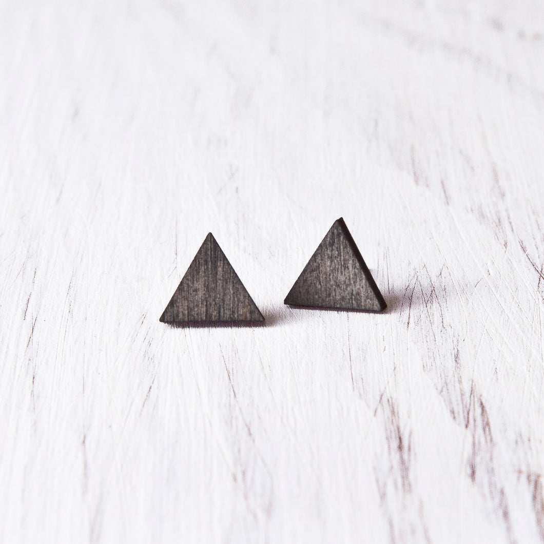 Black Triangle Stud Earrings, Wooden Mountain Studs, Gothic Earrings
