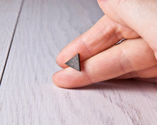 Load image into Gallery viewer, Black Triangle Stud Earrings, Wooden Mountain Studs, Gothic Earrings