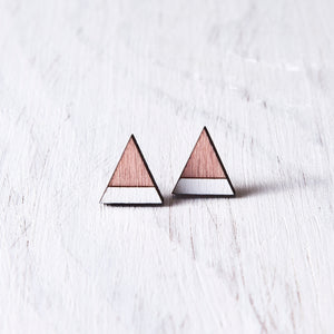 Dusty Pink White Mountain Stud Earrings, Triangle Studs