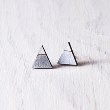 Load image into Gallery viewer, Triangle Silver White Stud Earrings, Valentines Day Gift for Her