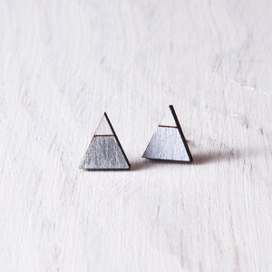 Triangle Silver White Stud Earrings, Valentines Day Gift for Her