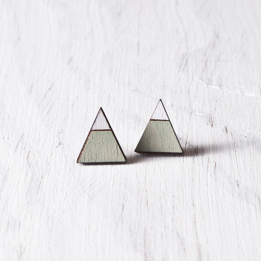 Triangle Mint White Stud Earrings, Mountain Studs, Mother Day Gift
