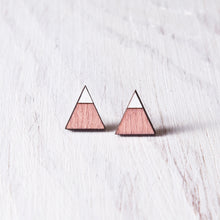 Load image into Gallery viewer, Triangle Pink White Stud Earrings, Valentines Day Gift for Her