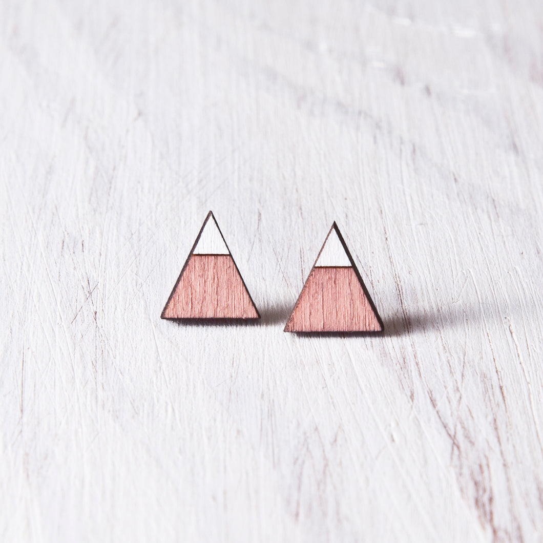 Triangle Pink White Stud Earrings, Valentines Day Gift for Her