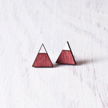 Load image into Gallery viewer, Triangle Red White Stud Earrings, Mountain Studs, Valentines Day Gift for Her