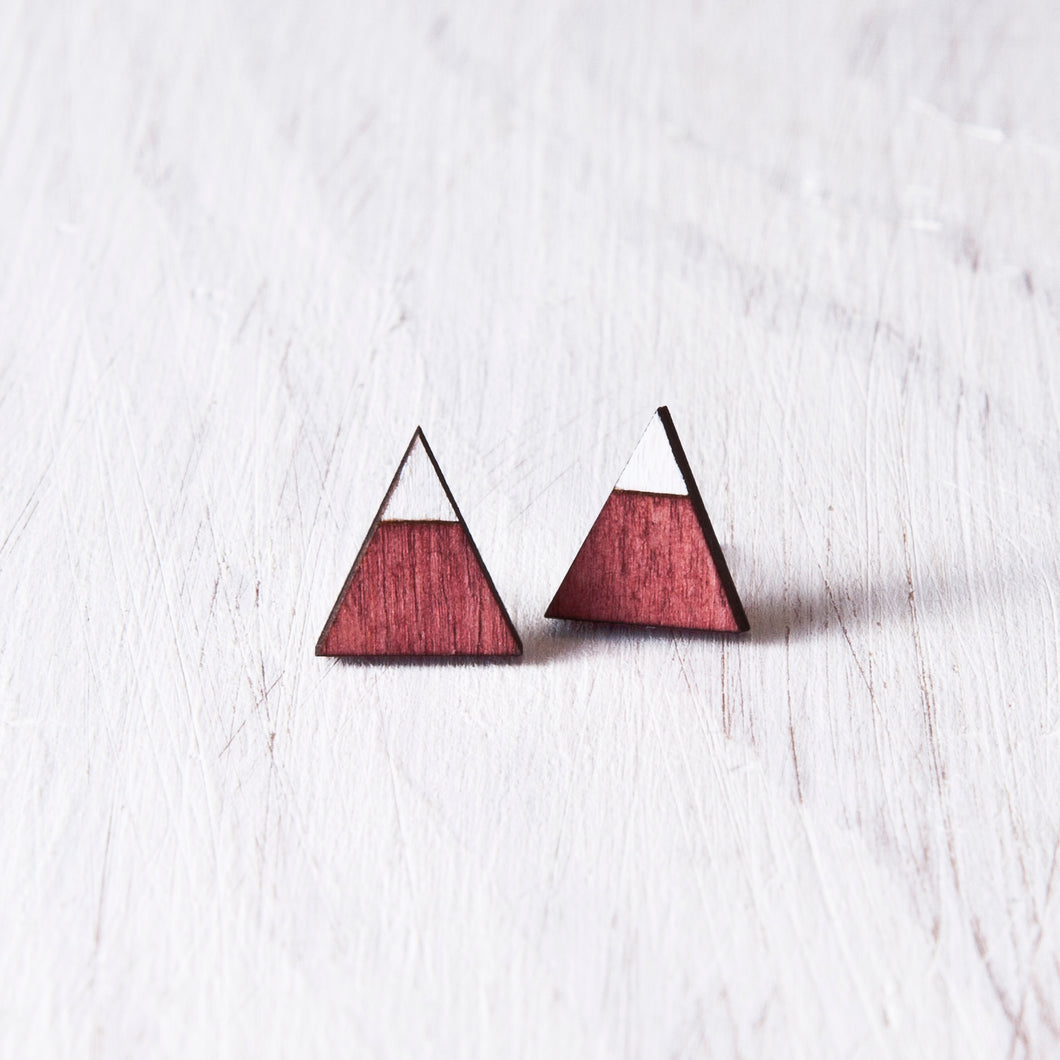 Triangle Red White Stud Earrings, Mountain Studs, Valentines Day Gift for Her