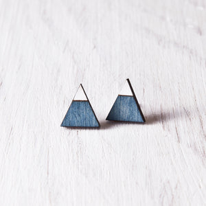 Triangle Blue White Stud Earrings, Mountain Studs