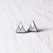 Load image into Gallery viewer, Wooden Blue White Mountain Stud Earrings, Geometric Jewelry