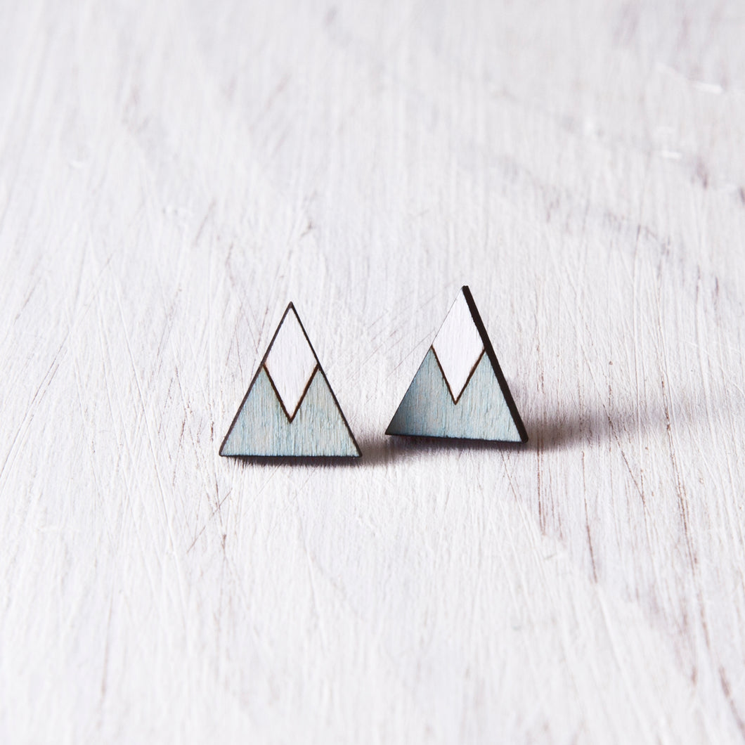 Wooden Blue White Mountain Stud Earrings, Geometric Jewelry