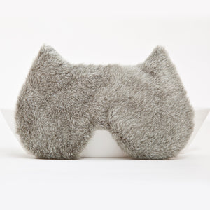 Gray Plush Cat Sleep Mask