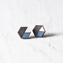 Load image into Gallery viewer, Honeycomb Studs Black Blue White