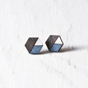 Honeycomb Studs Black Blue White