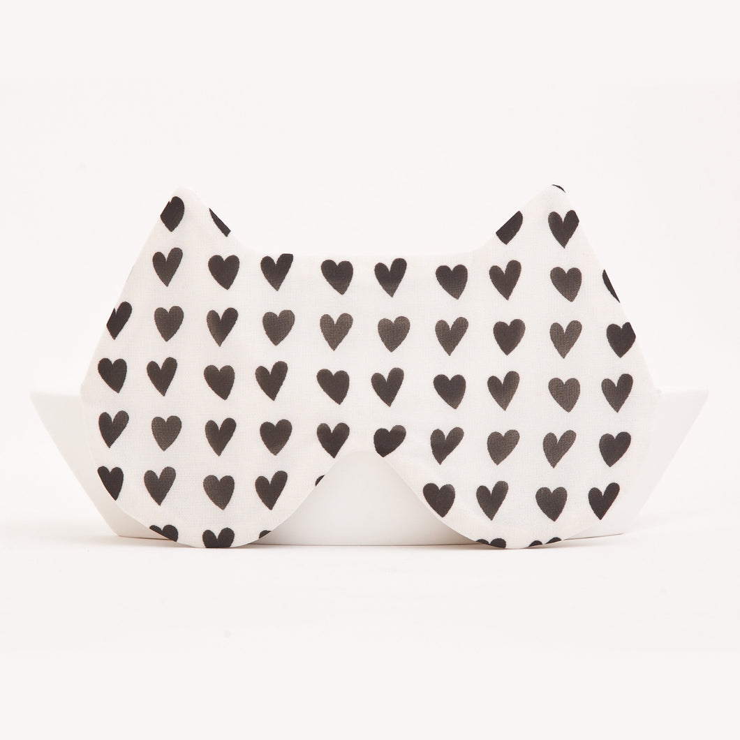 White Hearts Cat Sleep Mask
