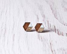 Load image into Gallery viewer, Honeycomb Studs Brown Gold Blue