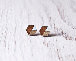 Honeycomb Studs Brown Gold Blue