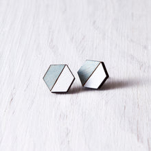 Load image into Gallery viewer, Hexagon Stud Earrings Blue White