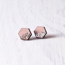Load image into Gallery viewer, Hexagon Studs Sparkle Pink