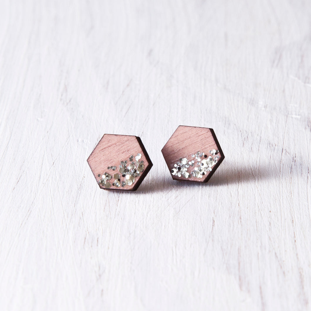 Hexagon Studs Sparkle Pink