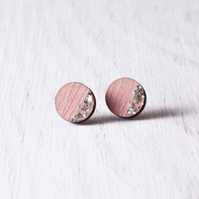 Load image into Gallery viewer, Circle Sparkle Stud Earrings Pink