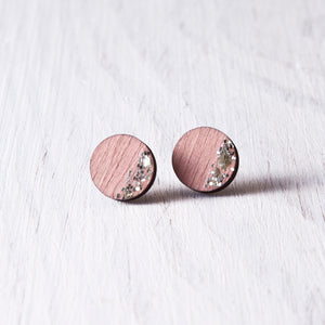 Circle Sparkle Stud Earrings Pink