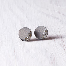 Load image into Gallery viewer, Circle Sparkle Stud Earrings Gray