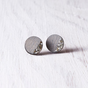 Circle Sparkle Stud Earrings Gray