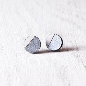 Circle Stud Earrings Silver White