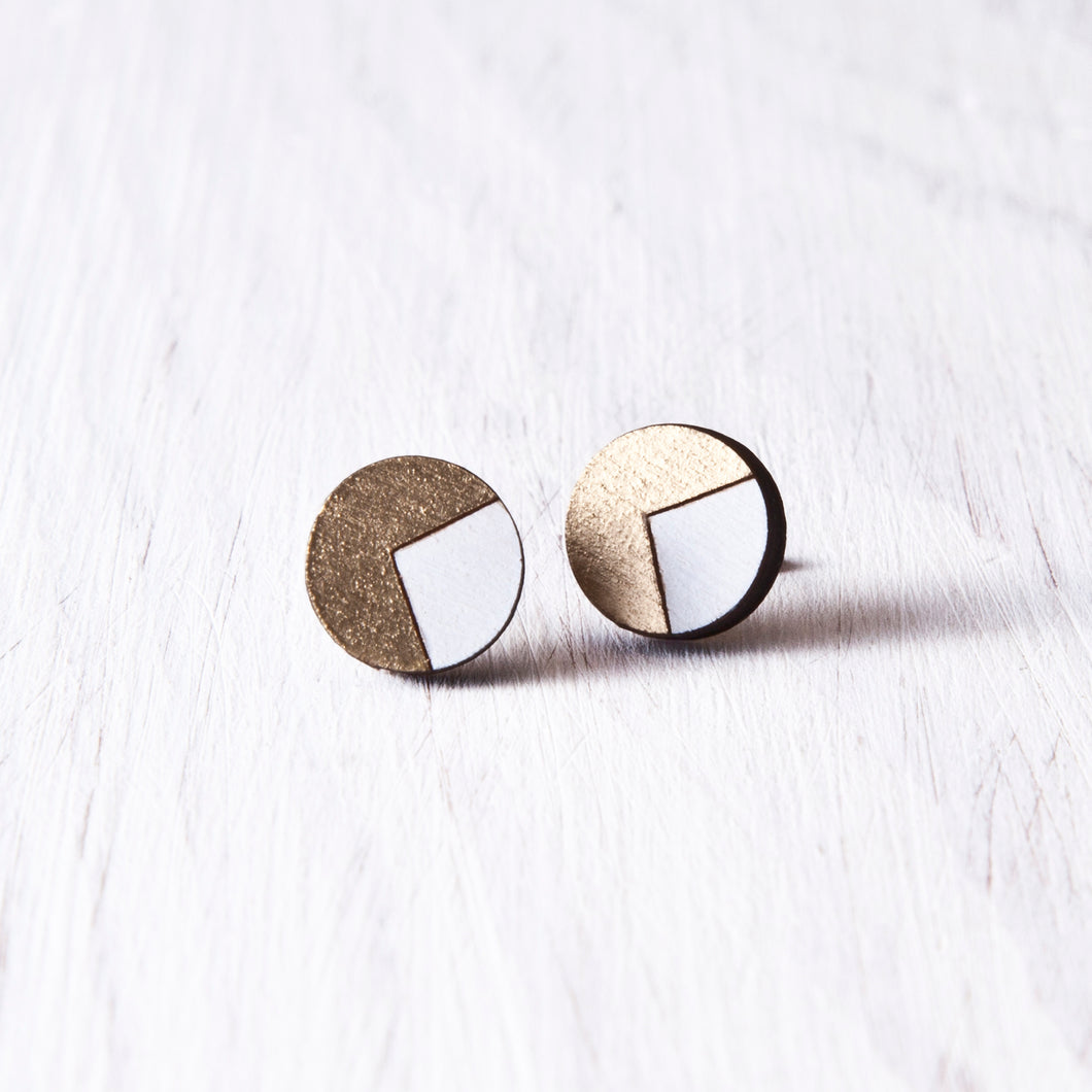 Wooden White Gold Circle Studs