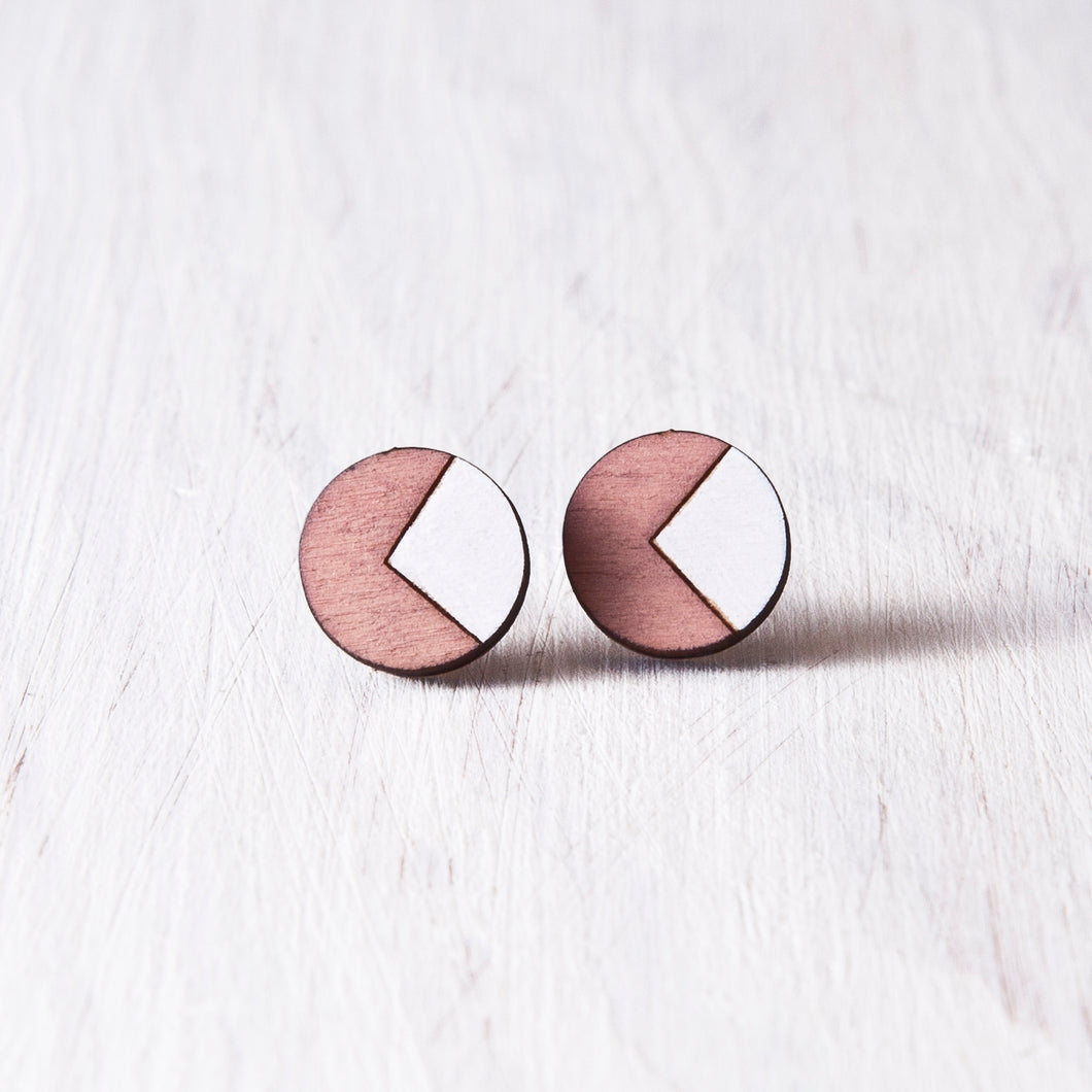 Circle Stud Earrings Pink White