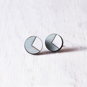 Circle Stud Earrings Blue White