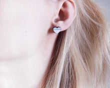 Load image into Gallery viewer, Wooden Silver White Heart Studs