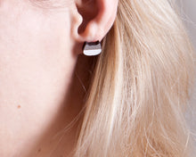 Load image into Gallery viewer, Cat Stud Earrings Silver White