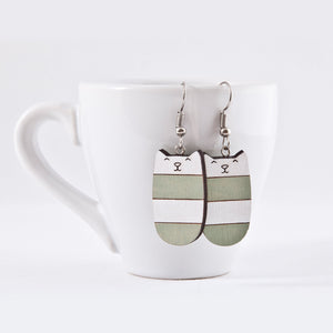 Dangle Cat Earrings Mint White Striped