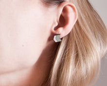 Load image into Gallery viewer, Chevron Mint White Earrings Stud