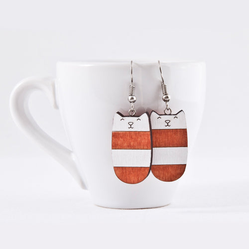 Dangle Cat Earrings Orange White