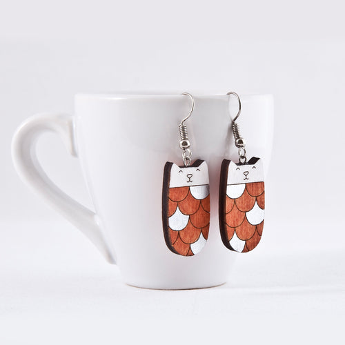 Mermaid Orange Silver Cat Earrings