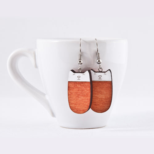 Orange Cat Dangle Earrings