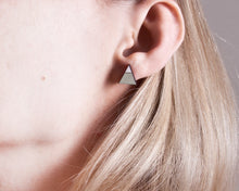 Load image into Gallery viewer, Triangle Mint White Stud Earrings