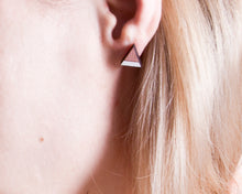 Load image into Gallery viewer, Dusty Pink White Mountain Stud Earrings, Triangle Studs