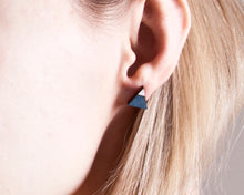 Load image into Gallery viewer, Triangle Blue White Stud Earrings